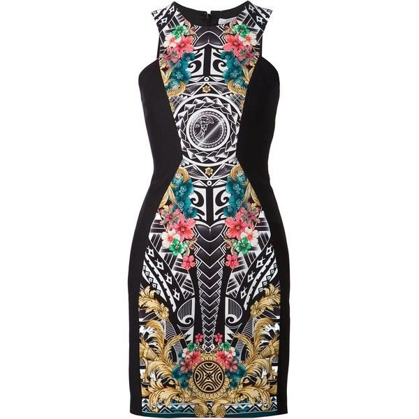 Versace Collection Baroque Aztec print dress (20,475 MXN) ❤ liked on Polyvore featuring dresses, vestidos, short dress, multicolour, black white dress, multicolored dress, multi-color dress, mini dress and black and white dresses