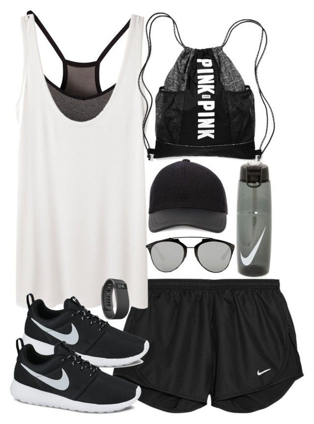 """""""Outfit for the gym with Nike sneakers"""" by ferned ❤ liked on Polyvore featuring NIKE, The Row, Victoria's Secret, Christian Dior, Fitbit, Canali, women's clothing, women, female and woman"""
