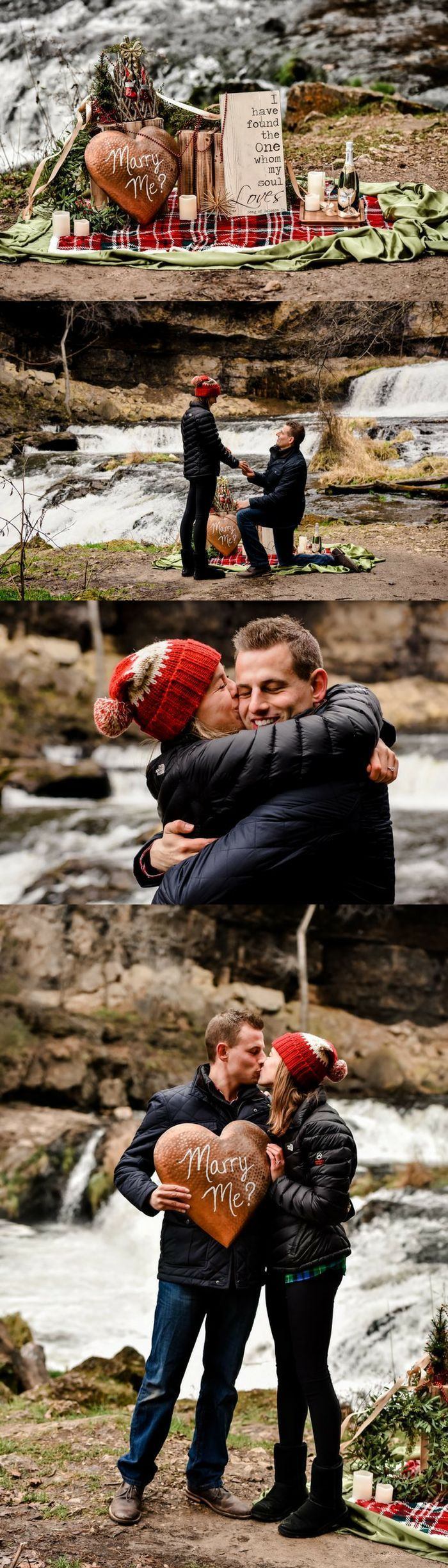 This waterfall proposal is literally a dream. He set up the most adorable spot to pop the question after their hike!