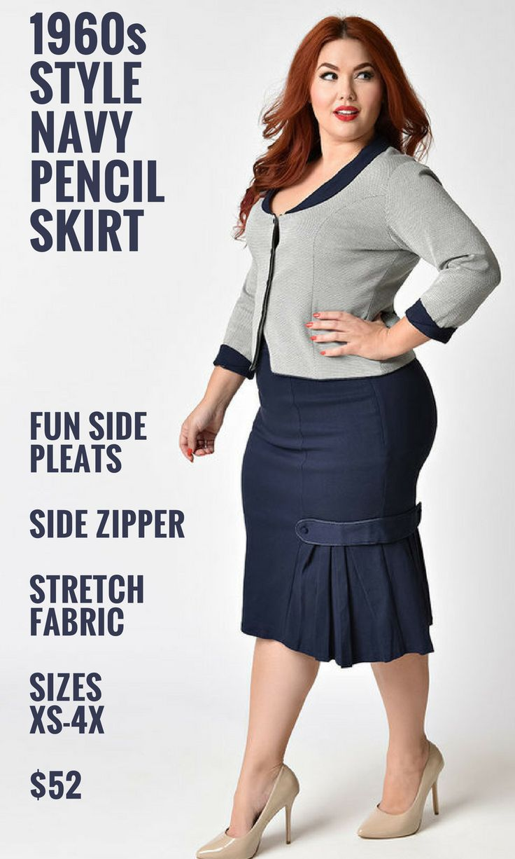 I totally love this cute pencil skirt!  Navy is my fave and the pleats on the side are adorable.  This comes in a huge range of sizes up to 4x for us curvy ladies...   This would be great for the office, it reminds me of a classic secretary outfit... or a CEO!   #outfitinspo #plussize #thatsdarling #affiliate