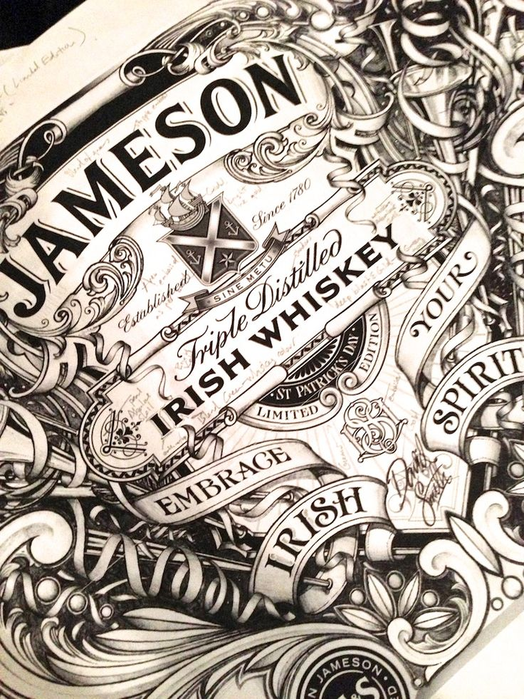 Label commissioned by Jameson Whiskey - limited edition etched bottle inspired by the intricate glass etching synonymous with great Dublin pubs.