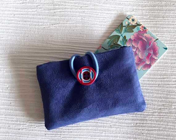 Blue Faux Suede Travel Card Case Card Holder Gift Card