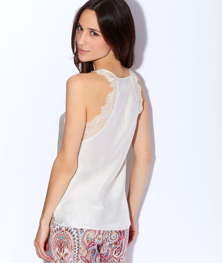 Satin and lace pyjama top - Sleeveless - Pyjama tops - The collection - Homewear