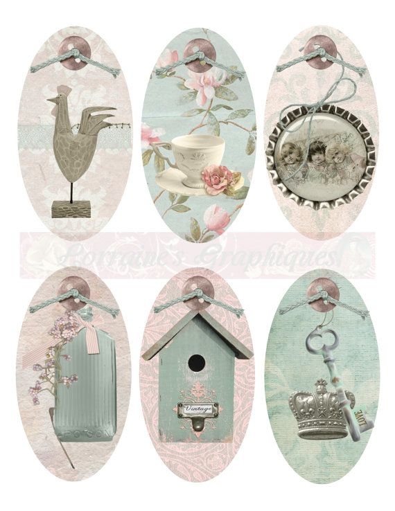 Shabby Chic Spring Oval Digital Tags or by LorrainesGraphiques, $2.00