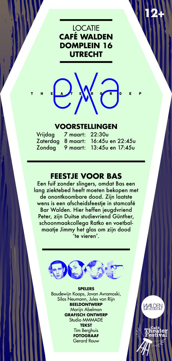"""BACK - The flyer of the theatre company EVA. The main element in their play """"Een Feestje voor Bas"""" (A party for Bas) is a coffin."""