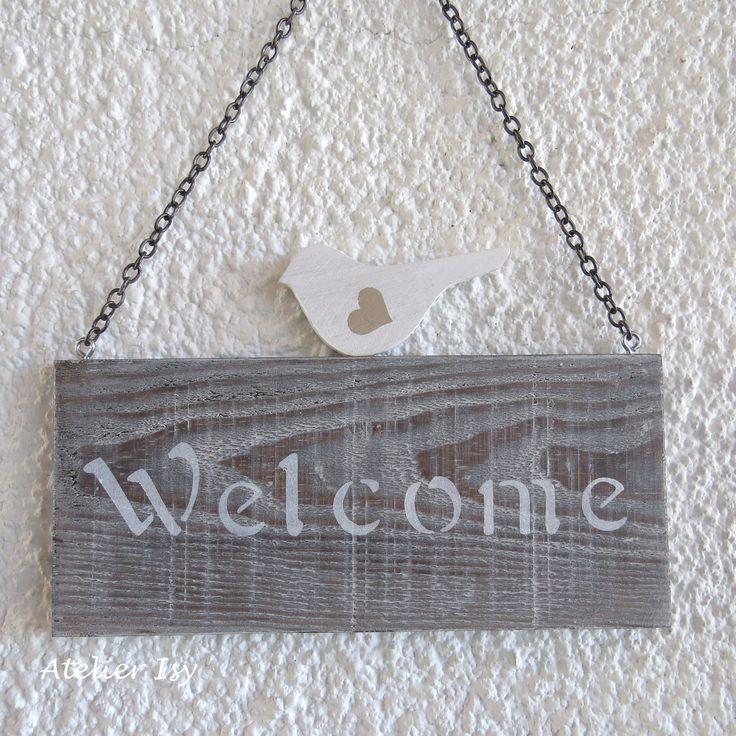 Plaque de porte en bois avec oiseau Welcome