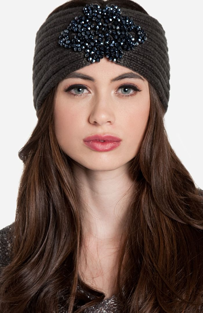 Beaded Flower Knit Headband, I need this! I learned of this must have on style-mile.com @Bruna Guimarães