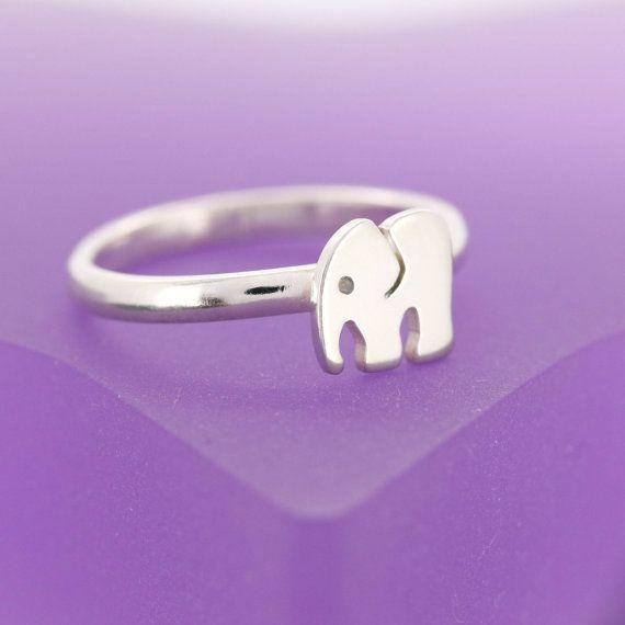 Sterling Silber Elefant Ring Stapeln Ring von JewelleryFurKeeps