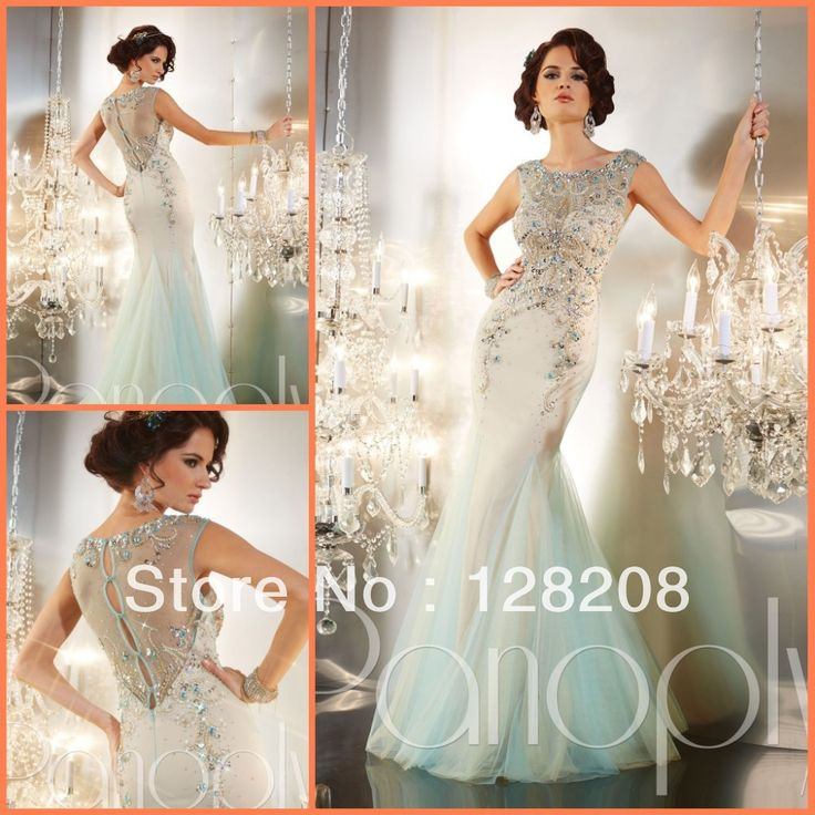 Amazing 2014 Pageant Dress Luxury Crystal Sheer Back Mermaid Prom Dresses Formal Gowns $299.00