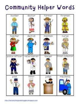 Community Helper Words and Pictures. Use this photo as a writing prompt. The students will draw their favorite community helper and write a sentence describing how that person helps the community.: