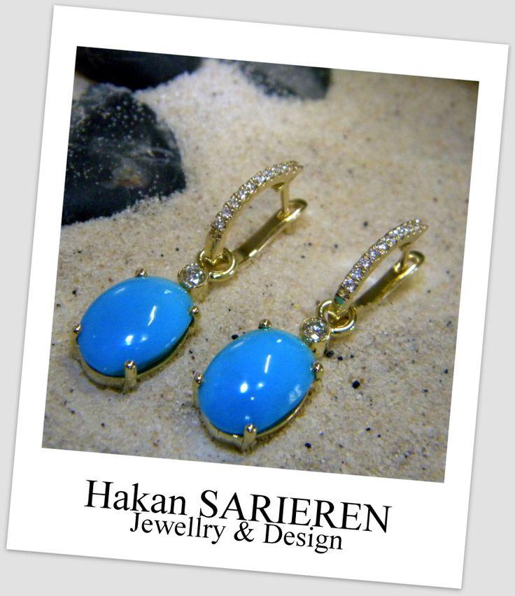 Turquoise and diamond earring