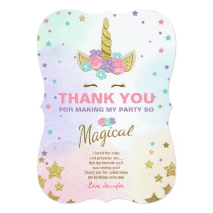 Unicorn Birthday Thank You Card Pink Gold Magical Birthday Cards