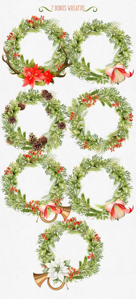 Christmas wreaths clip art #winter #wreath
