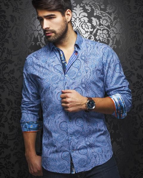 Beautiful red and blue Jacquard fabric Navy and white dot contrasting liner Red piping on cuff inside 100% cotton shirt, slim fit, Blue octagonal Triple-buttons & Au Noir embroidered signature. Be Bold, Be Daring...Au Noir
