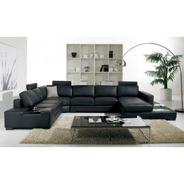 black leather living room furniture sets%0A T   Modern Black Sectional Sofa