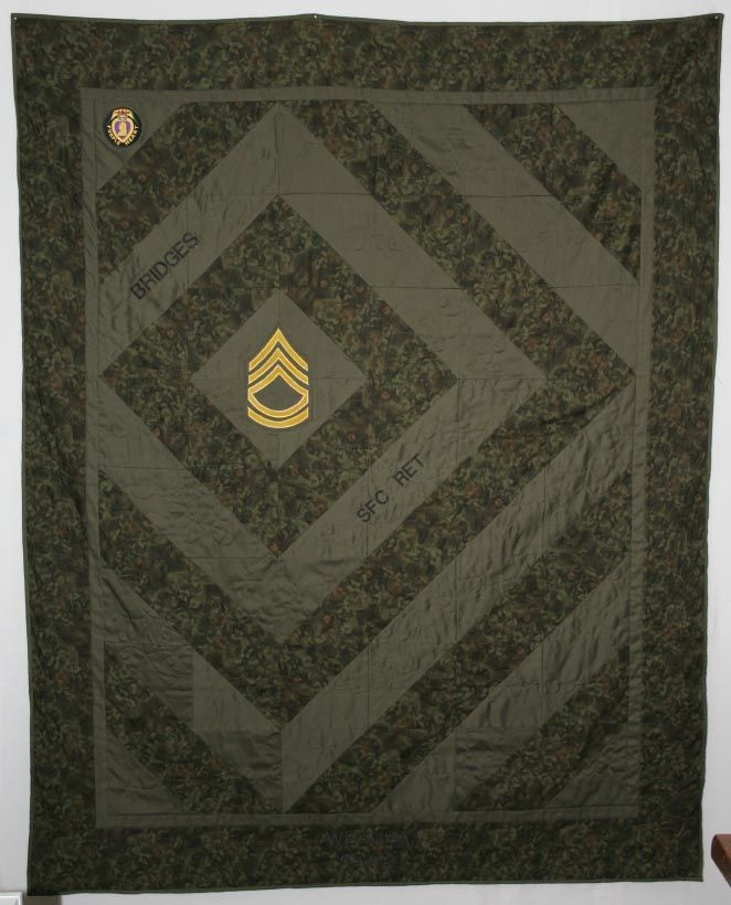 Army Quilt.  I love the use of only greens in this quilt.  Quilter did a great job.  Peace, Robert from nancysfabrics.com