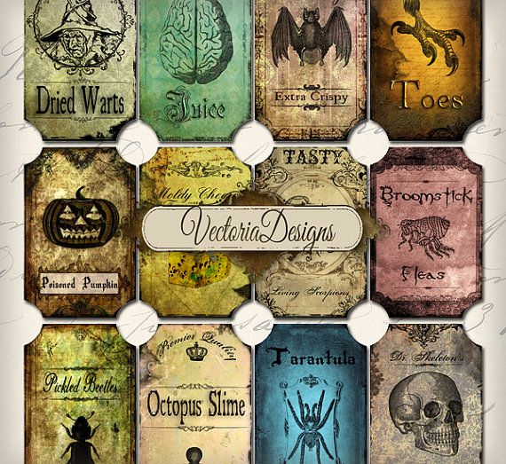 """Halloween Bottle Jar Labels Tags instant by VectoriaDesigns, Etsy $3.35 ~ 12 high quality (300 dpi) different sized labels (8 labels almost 2"""" x almost 3,5"""" and 4 labels almost 2"""" x almost 2 3/4"""") on one 8.5"""" x 11"""" sheet for easy printing. Watermark will be removed. All the items are in jpg."""