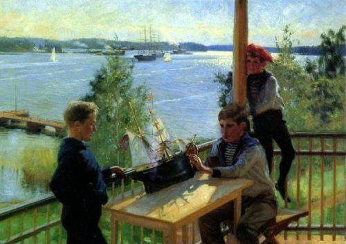Eklofin Boys On The Porch Of Villa Sjokulla - Albert Edelfelt (1854 – 1905, Finnish)
