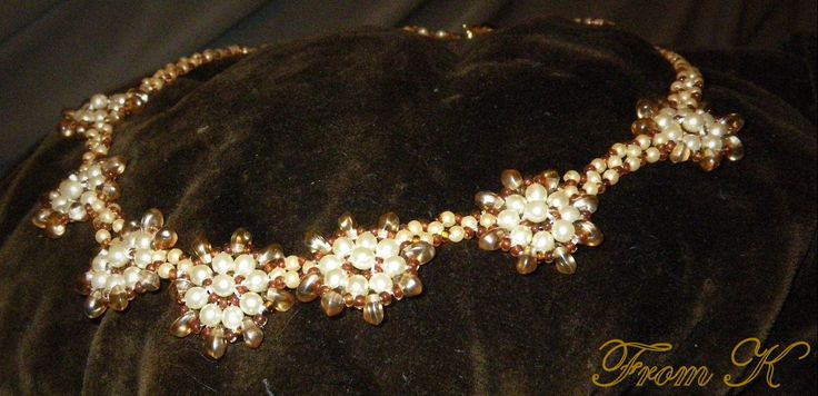 An elegant flowery necklace...... (matching earrings are available ) Czech seed beads, glass pearls and crystals are used 40 cm long. Should fit exactly on the base of the neck. For more, visit my facebook page https://www.facebook.com/media/set/?set=a.255899171103055.81635.246629745363331&type=3