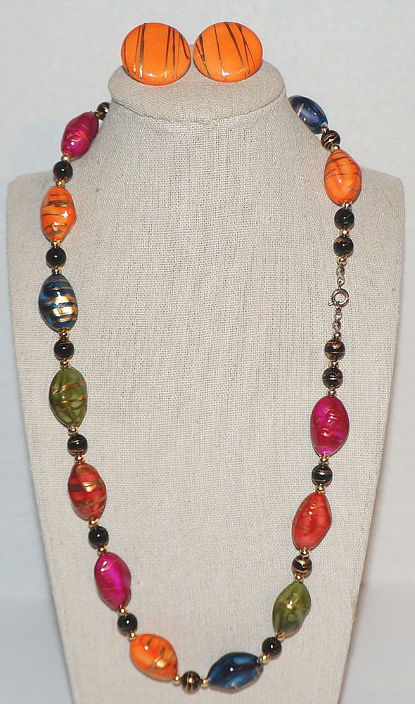 Vintage Plastic Multi Color Bead Necklace And Earrings Set Single
