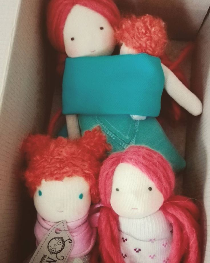 Custom order for two little girl. :) #waldorfinspired #waldorfdoll #doll #redhead #redhair #pocketdoll #babycarrier #babywearing