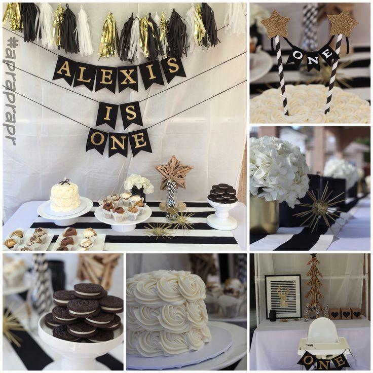 1st birthday December black and white christmas birthday ikea fabric sugar and scribe bakery