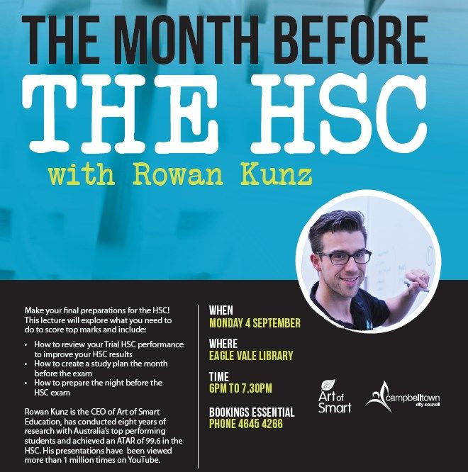 Award-winning presenter Rowan Kunz will present 'The Month Before The HSC' at Eagle Vale Library on Monday 4 September from 6pm. This is a free event but bookings are essential. #RowanKunz #HSC #campbelltowncitylibrary
