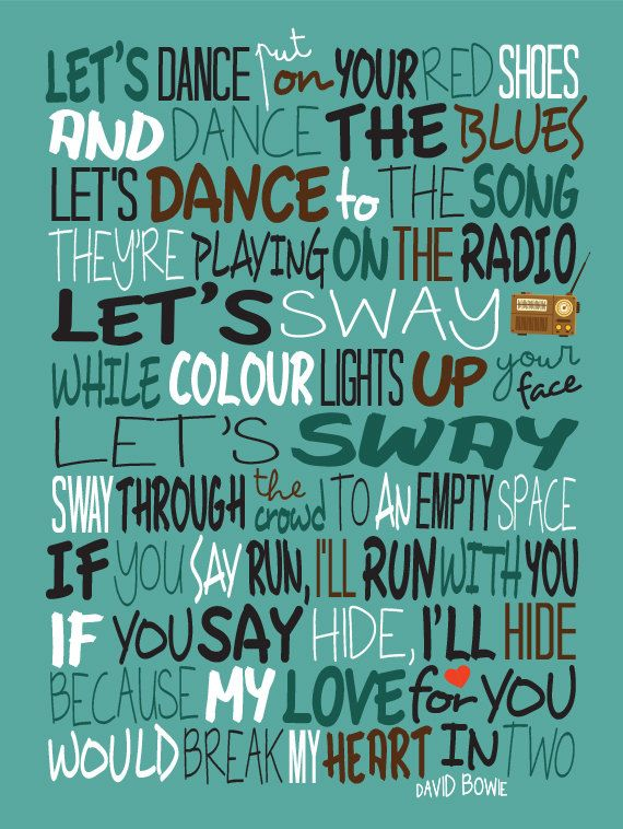 David Bowie Let's Dance Poster Song Lyrics Print by LawandMoore