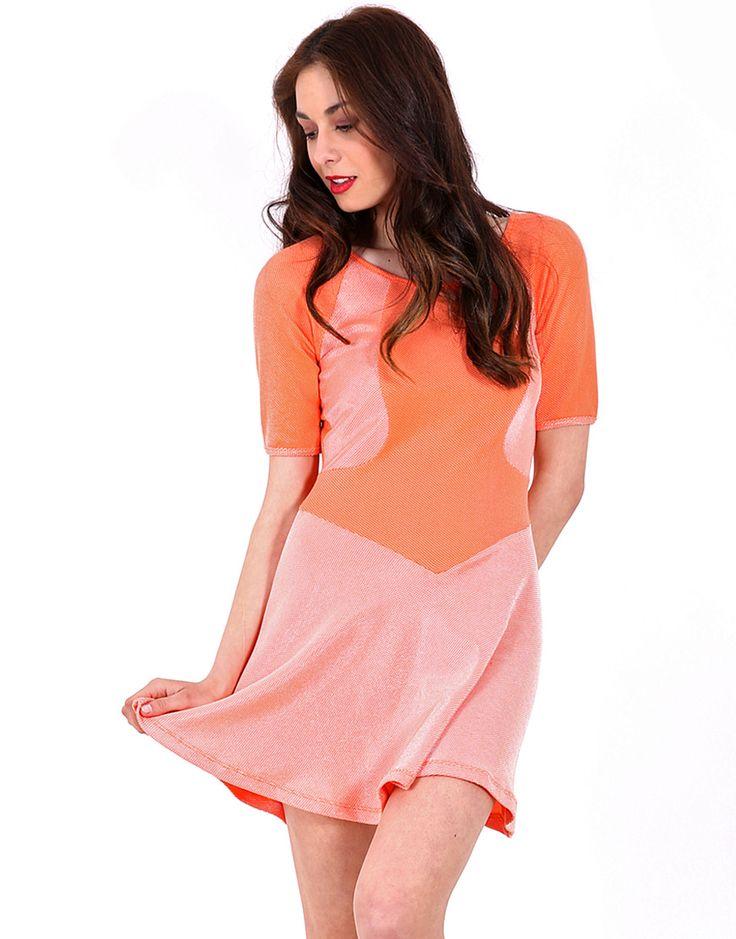 LOVE IT!!  Bright orange, sleeveless, full hem jacquard mini dress with tonal mesh yoke detail.