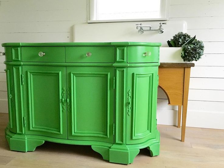 "Darci Haney finished this beautiful hutch in Antibes Green Chalk Paint® for a customer's home office. She says, ""I am loving the pop of color!!!! Makes me want to paint everything bright and bold."" We second that emotion!"