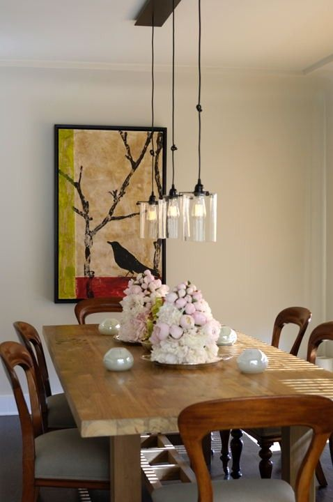 Modern Dining Light Fixtures Part - 38: Great Dining Room. Could I Make A Similar Light Fixture Out Of Inverted  Vases?