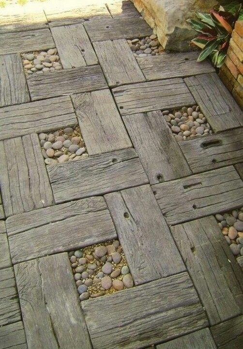 Reclaimed wood and pebble path by Debbie Ruggles Rye