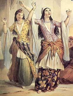 dancing harem women in Turkish (ottoman empire) costume