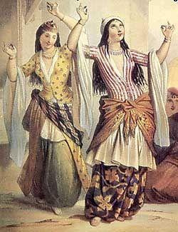 dancing harem women in Turkish (ottoman empire) costume
