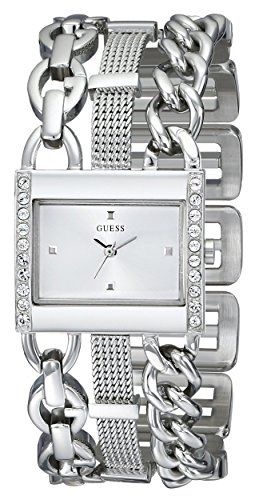 GUESS Womens U0433L1 CrystalAccented SilverTone Watch with Link Bracelet --  To view further for this 493d818430c7