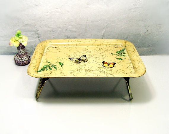 Vintage Retro Breakfast In Bed Tray, Metal TV Tray Table Folding Legs Bed  Tray Sweet Cheery Bright Yellow Butterflies Ferns 60s Mid Century