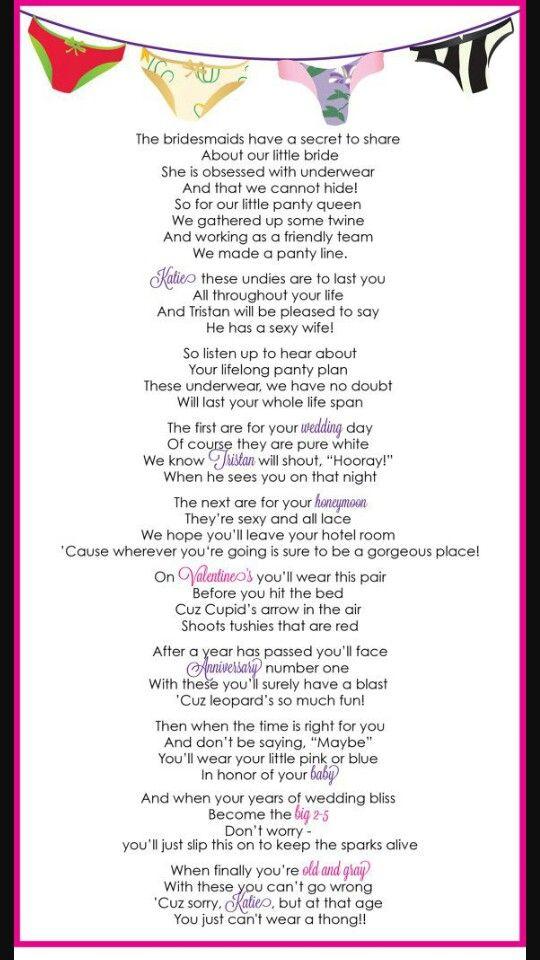 Panty Poem Bachelorette Party Bachelorette Lingerie