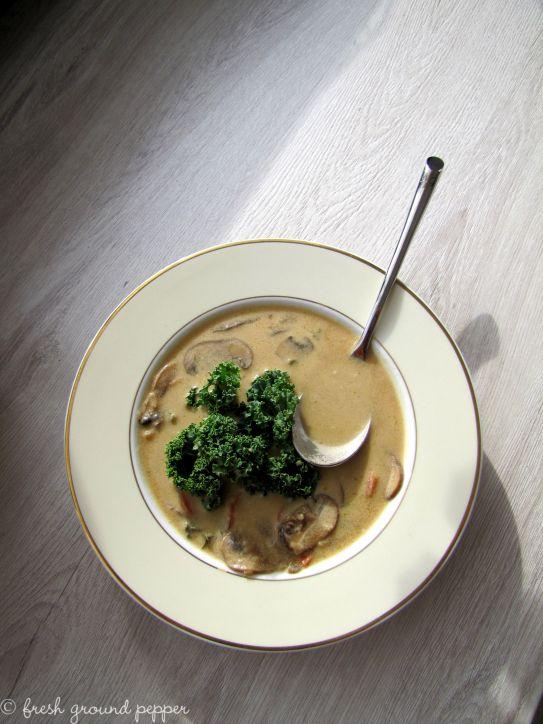 Coconut & mushroom soup with kale from freshgroundpepperblog.wordpress.com