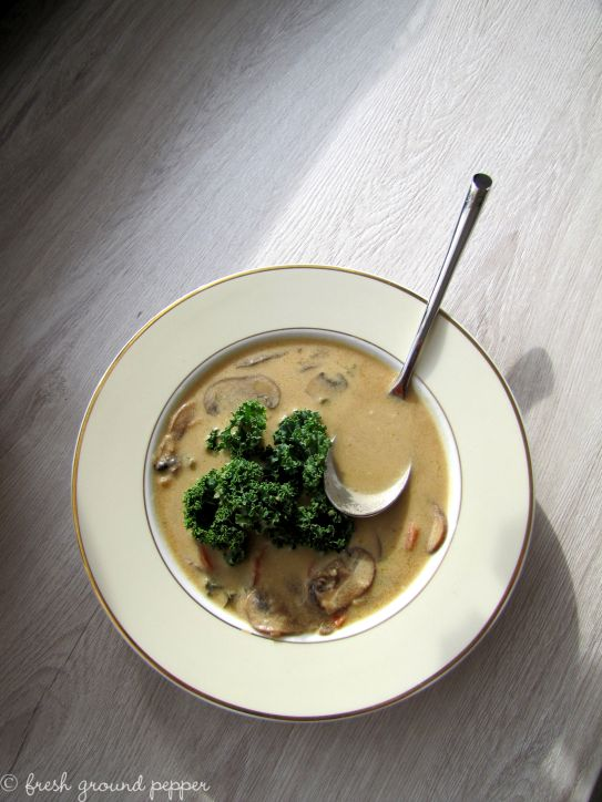 Coconut & mushroom soup with kale from freshgroundpepperblog.wordpress.com