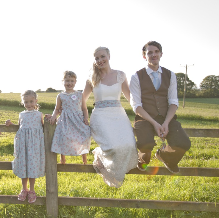 'Sweet Pea' wedding dress, and matching flower girl dresses.