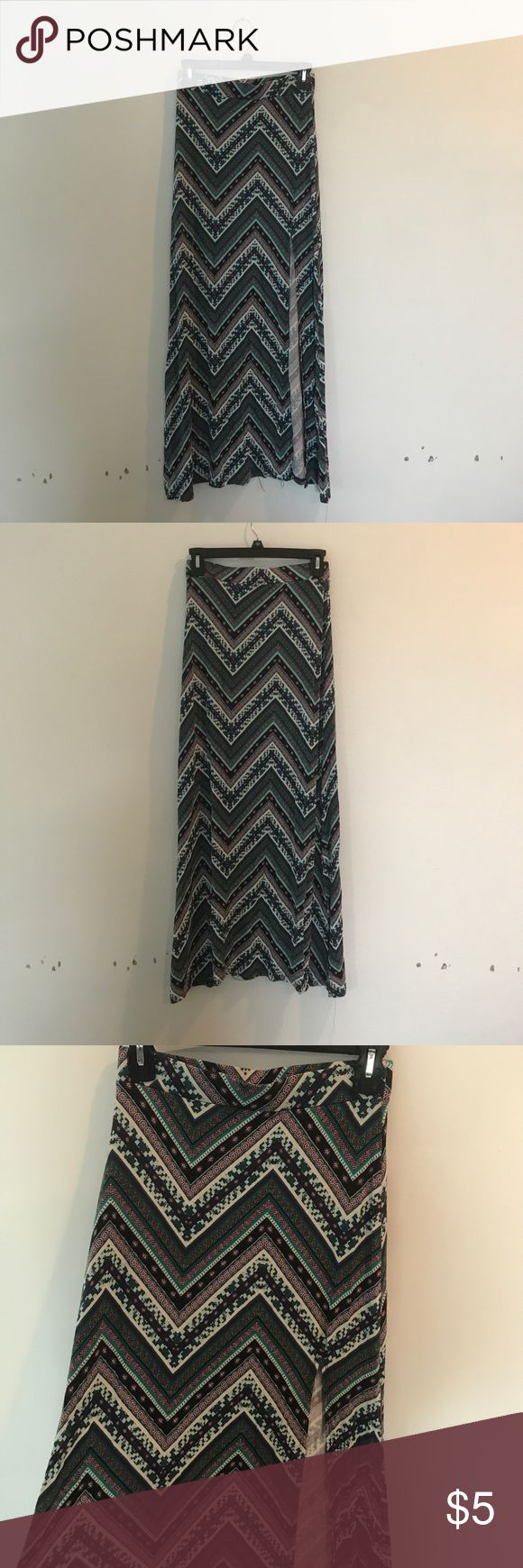 Charlotte Russe Maxi skirt Blue/purple/white Maxi skirt with slit. Great condition. Charlotte Russe Skirts Maxi
