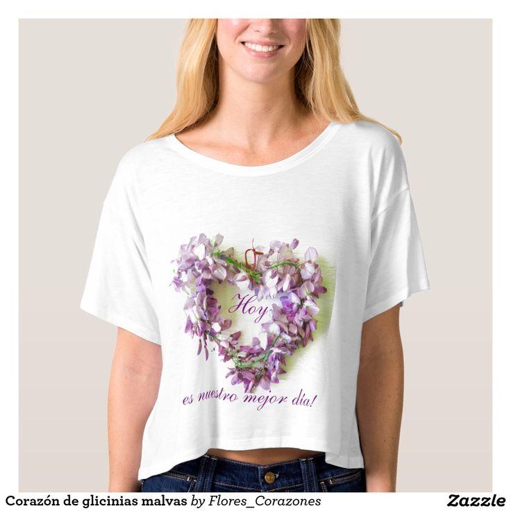 Camiseta con corazón de glicinias y texto