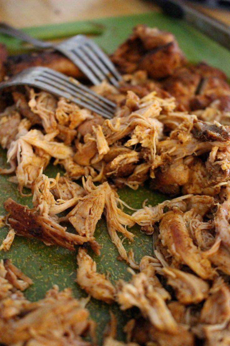 Smoky mexican chicken - gekookt, geplukt, gemarineerd en gebakken: toegevoegd stroop en worcestershiresaus!