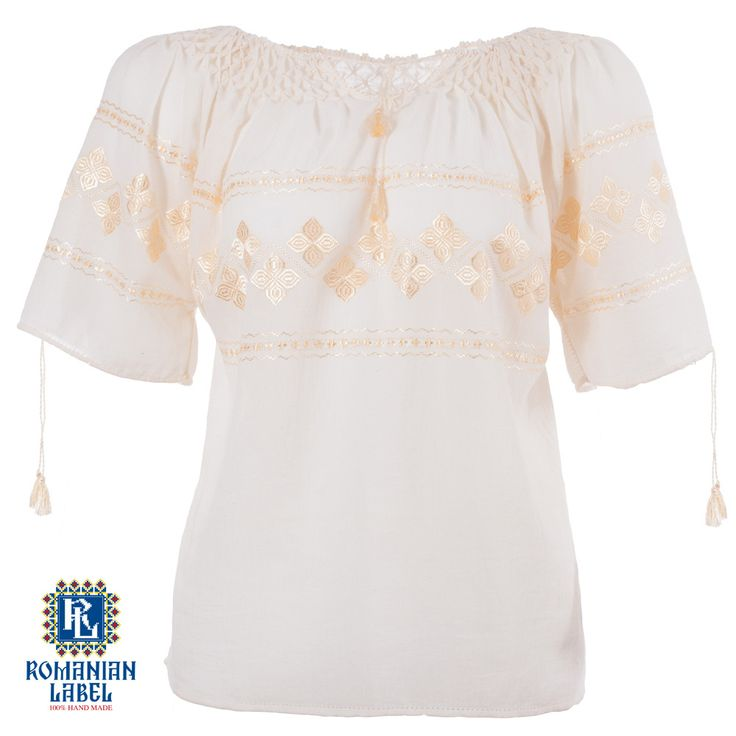 $84.20 A 100% hand made traditional blouse, exclusively tailored out of natural materials, such as ivory cotton and gold silk embroidery.