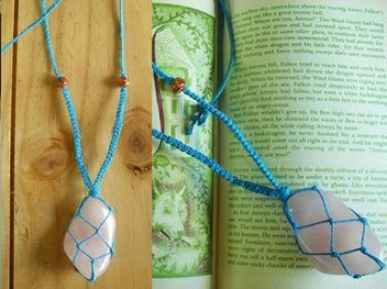 A lovely generous size piece of  rose quartz wrapped in turquoise hemp with a long non adjustable macrame hemp strap.