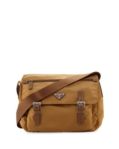 Vela Small Double-Pocket Messenger Bag, Tobacco (Caramel)