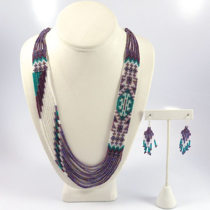 Loom-beaded necklace with matching earrings - by Rena Charles (Navajo)