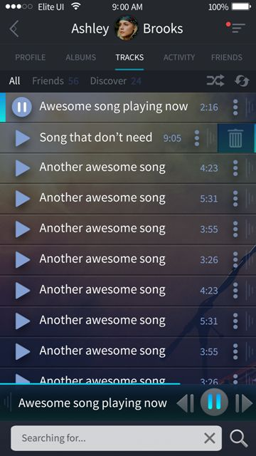 Beautiful tracks screen for a music app. Visit our site for more awesome UI designs!