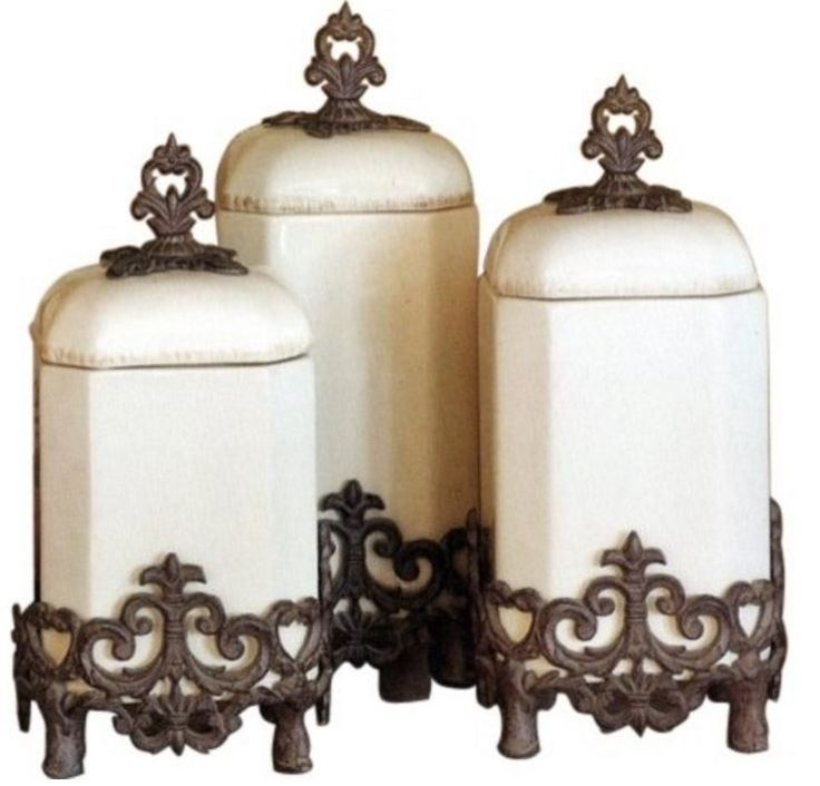 GG Collection Provencial Kitchen Canisters - Make your design complete with our Old World Mediterranean with our set of three elegant ceramic canisters. The Provencal series from the GG Collection is