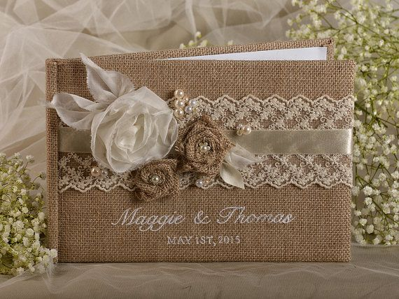 Burlap  Natural Birch Bark Wedding Guest Book, Rustic  Guestbook,  Shabby Chic Burlap Photo Album, Lace , custom colors , embroidery names on Etsy, $55.00